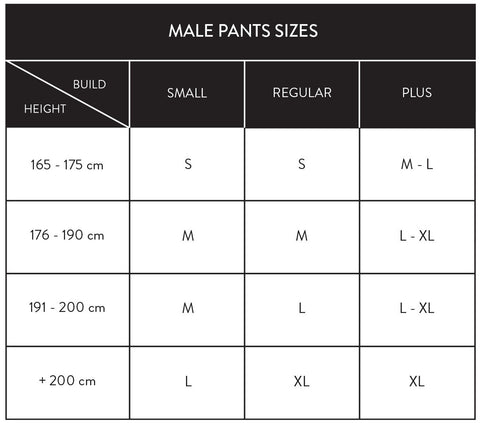 base layer pants sizes male