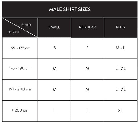 base layer shirts male sizes