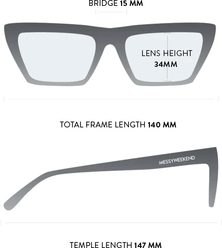 corey sunglasses measurements