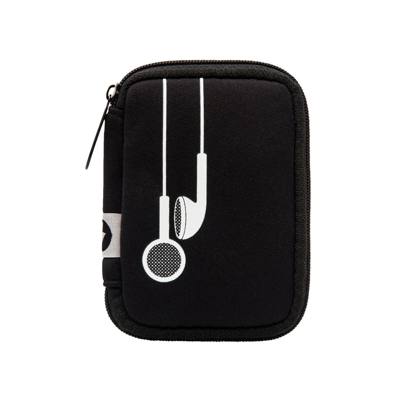 Black w/ White Earbuds Ear Bud Case