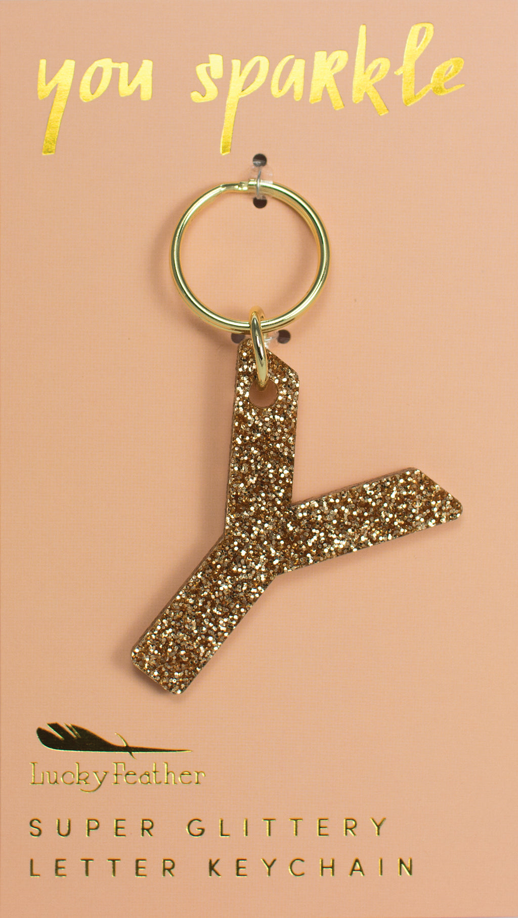 Glitter Letter Keychain - Y