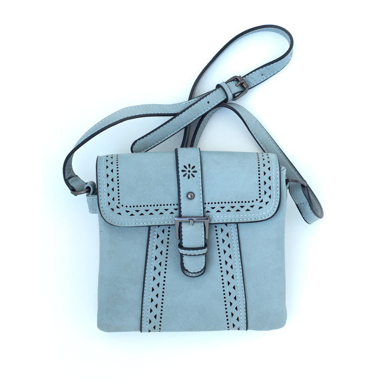 Blue-Gray Purse with Buckle