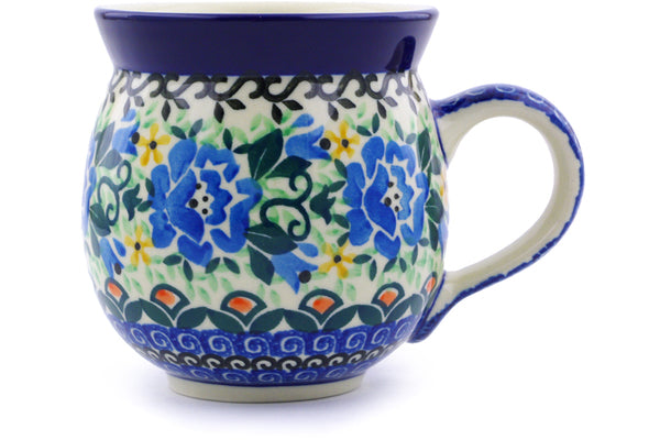 Polish Pottery 12 oz Bubble Mug Tulip Rose UNIKAT