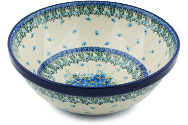 "Polish Pottery 11"" Bowl Forget Me Not"