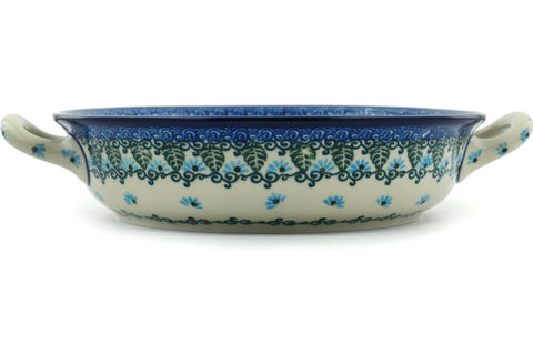 Polish Pottery Medium Round Baker with Handles Forget Me Not