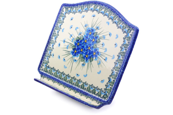 "Polish Pottery 9"" Book Stand Forget Me Not"