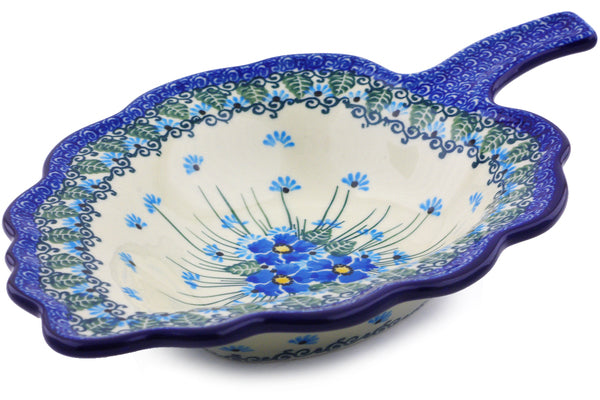 "Polish Pottery 11"" Leaf Shaped Bowl Forget Me Not"
