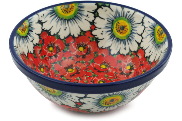 "Polish Pottery 6"" Bowl Sweet Red Petals UNIKAT"
