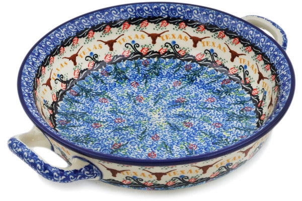 Polish Pottery Medium Round Baker with Handles Texas Feast UNIKAT
