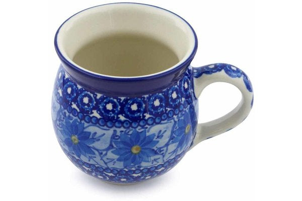 Polish Pottery 12 oz Bubble Mug Winter Water Daisies UNIKAT