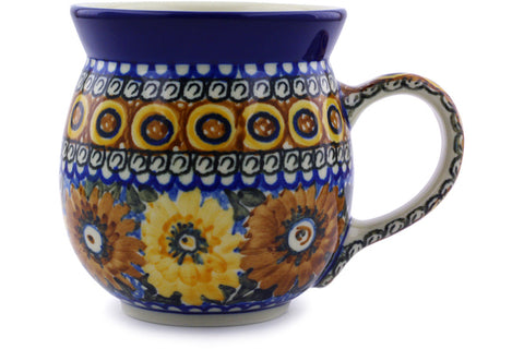 Polish Pottery 16 oz Bubble Mug Autumn Chrysanthemums UNIKAT