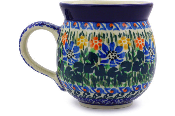 Polish Pottery 12 oz Bubble Mug Burst Of Flowers UNIKAT