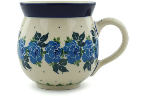 Polish Pottery 12 oz Bubble Mug Blue Rose
