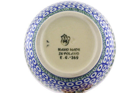 Polish Pottery 16 oz Bowl with Loop Handle Water Tulip