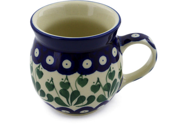 Polish Pottery 8 oz Bubble Mug Bleeding Heart Peacock