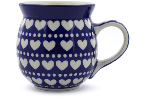 Polish Pottery 16 oz Bubble Mug Heart To Heart