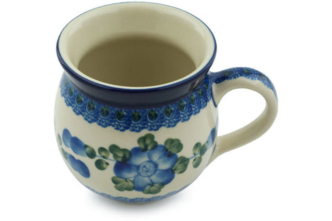 Polish Pottery 12 oz Bubble Mug Blue Poppies