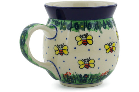 Polish Pottery 16 oz Bubble Mug Bee Happy UNIKAT