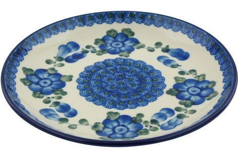 Polish Pottery Dessert Plate Blue Poppies