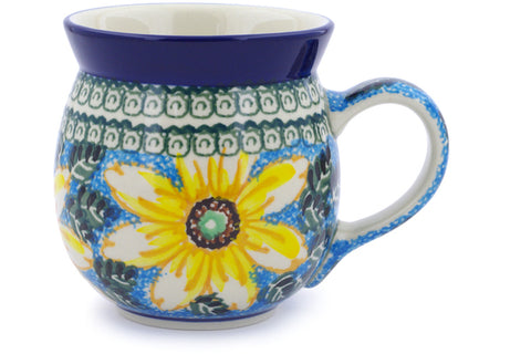 Polish Pottery 16 oz Bubble Mug Black Eyed Susan UNIKAT