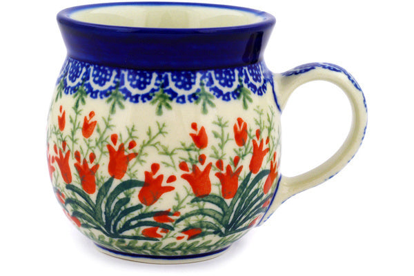 Polish Pottery 8 oz Bubble Mug Crimson Bells