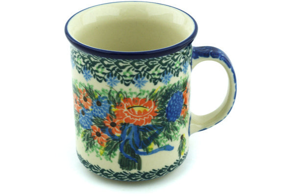 Polish Pottery 10 oz Mug Elegant Bouquet UNIKAT