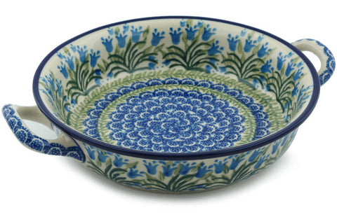 Polish Pottery Medium Round Baker with Handles Feathery Bluebells