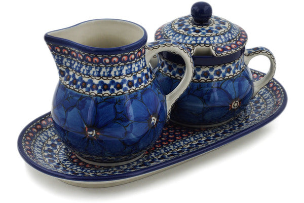 "Polish Pottery 11"" Sugar and Creamer Set Cobalt Poppies UNIKAT"