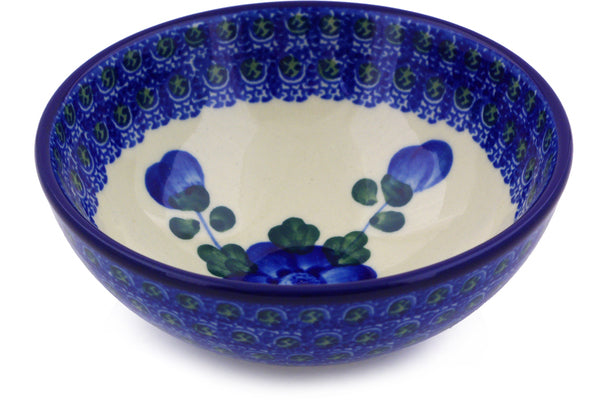 "Polish Pottery 5"" Bowl Blue Poppies"