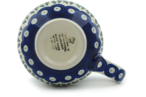 Polish Pottery 12 oz Bubble Mug Blue Tulip Peacock