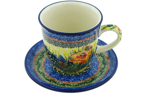 Polish Pottery 10 oz Cup with Saucer Copper Rose Meadow UNIKAT