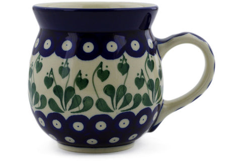 Polish Pottery 16 oz Bubble Mug Bleeding Heart Peacock