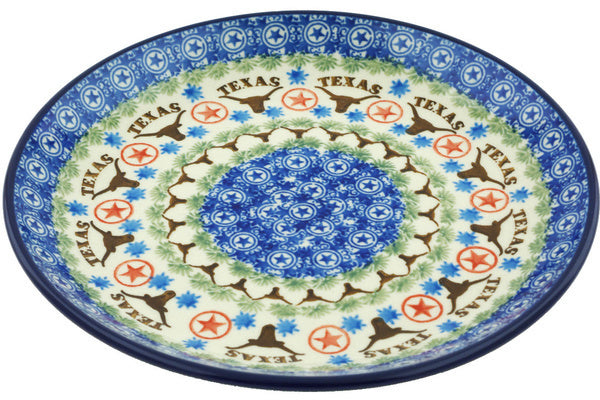 Polish Pottery Dessert Plate Texas Longhorns