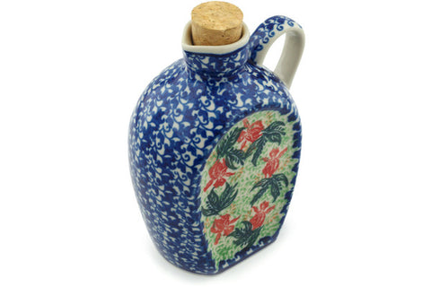 Polish Pottery 19 oz Bottle Red Hibiscus