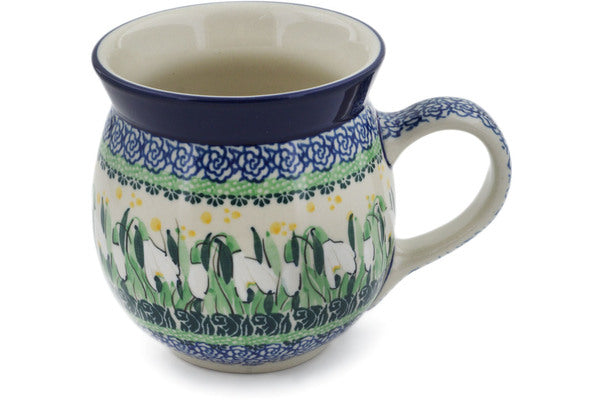 Polish Pottery 16 oz Bubble Mug Snowdrops UNIKAT