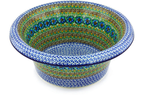 "Polish Pottery 12"" Bowl with Rolled Lip Mardi Gra UNIKAT"