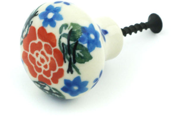 Polish Pottery Drawer knob 1-1/2 inch Burst Of Roses