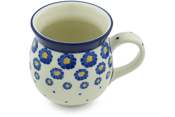 Polish Pottery 16 oz Bubble Mug Blue Zinnia
