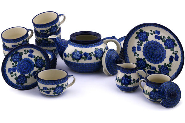 Polish Pottery 40 oz Tea or Coffee Set for Six Blue Poppies