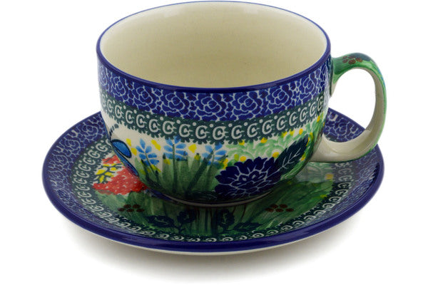 Polish Pottery 13 oz Cup with Saucer Garden Delight UNIKAT
