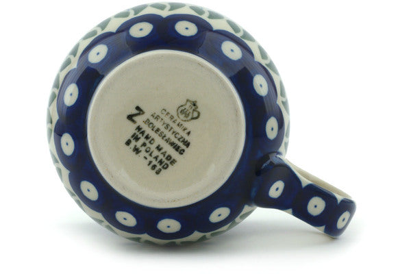 Polish Pottery 8 oz Bubble Mug Blue Tulip Peacock