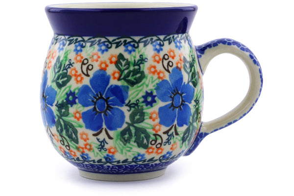 Polish Pottery 12 oz Bubble Mug Brilliant Pansy UNIKAT