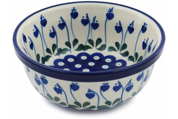 "Polish Pottery 6"" Bowl Bleeding Heart Peacock"