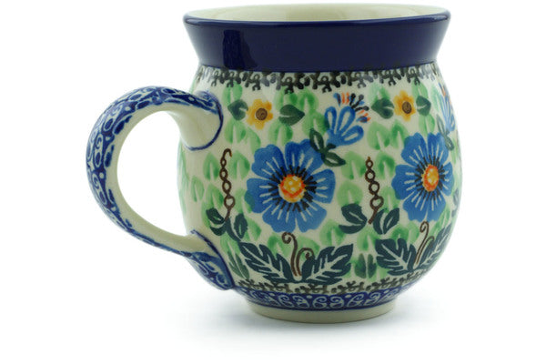 Polish Pottery 12 oz Bubble Mug Grecian Blooms UNIKAT