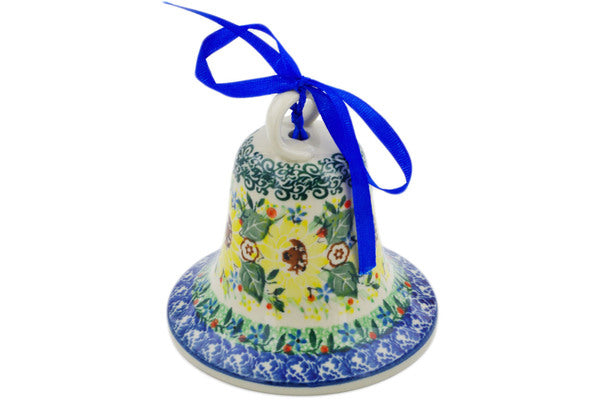 "Polish Pottery 4"" Bell Ornament Yellow Garden UNIKAT"