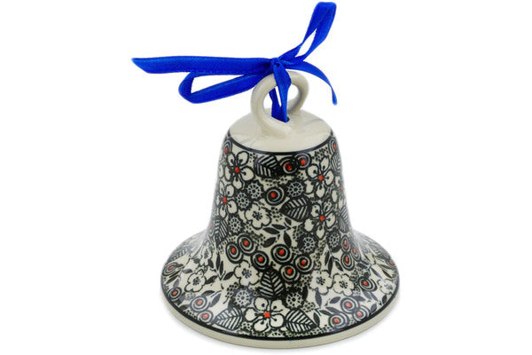 "Polish Pottery 4"" Bell Ornament Classic Black And White UNIKAT"
