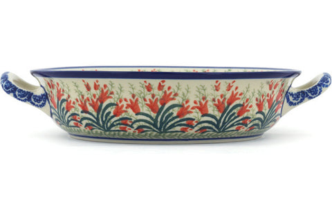 Polish Pottery Medium Round Baker with Handles Crimson Bells