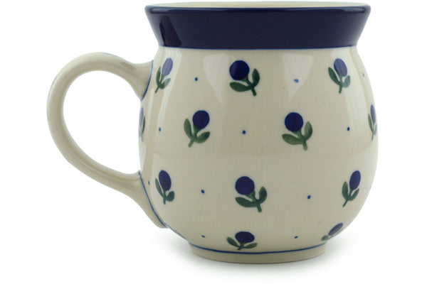 Polish Pottery 16 oz Bubble Mug Blue Buds