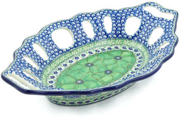"Polish Pottery 13"" Bowl with Holes Green Pansies UNIKAT"