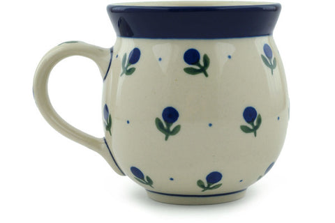 Polish Pottery 12 oz Bubble Mug Blue Buds